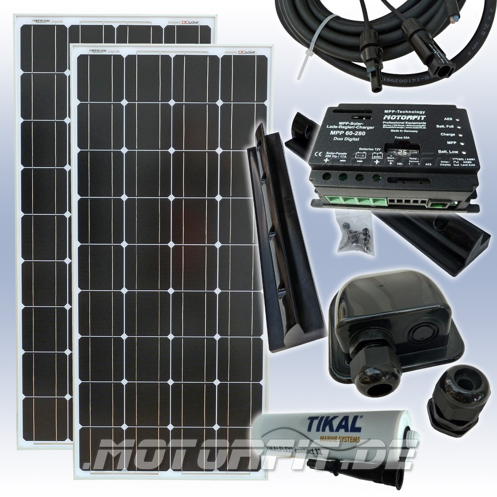 200w 12v solar spar set komplettset solaranlage 2 x 100 watt solar anlagen mobile solar sets. Black Bedroom Furniture Sets. Home Design Ideas